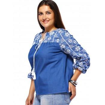 Bohemian Style Plus Size Tribal Pattern Tie Front Women's Blouse - BLUE 2XL