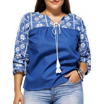 Bohemian Style Plus Size Tribal Pattern Tie Front Women's Blouse