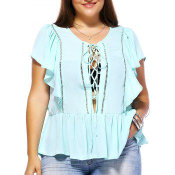 Sweet Plus Size Hollow Out Criss Cross Women's Chiffon Blouse