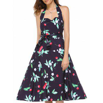Vintage Cherry Print Halter Sweetheart Neck Dress For Women