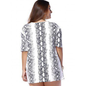 Plus Size Snakeskin Pattern V Neck Tee - WHITE WHITE