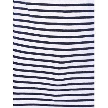Back Zippered Striped Tee - WHITE L
