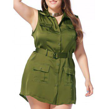 Military Style Plus Size Pockets Design Sleeveless Women's Shirt Dress