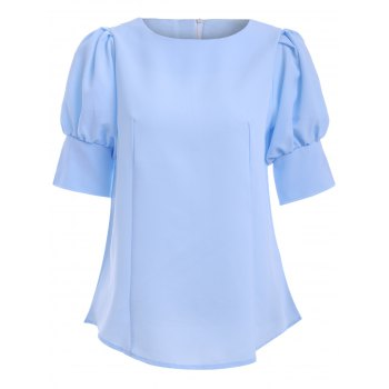 Round Collar Puff Sleeve Brief Solid Color Women's Blouse