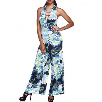 Halter Neck Low Cut Stylish Wide Leg Floral Women's Jumpsuit