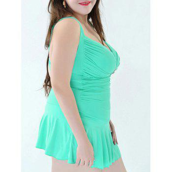 Stylish Women's Plus Size Ruched One-Piece Swimsuit - LAKE GREEN 6XL