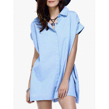Stylish Women's Button Loose-Fitting Chambray Shirt Dress