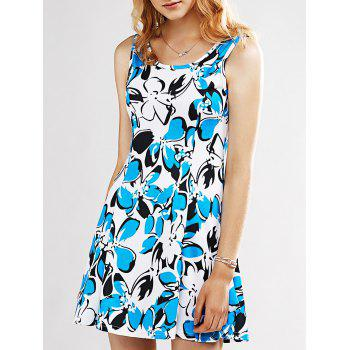 Refreshing Print Sleeveless Dress For Women