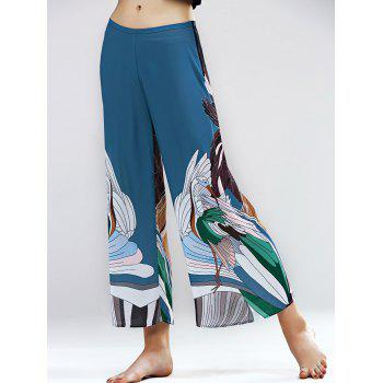 Graceful High Waist Swan Pattern Wide Leg Ninth Pants For Women