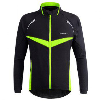 High Quality Long Sleeve Windproof Cycling Jacket For Unisex - BLACK AND GREEN XL