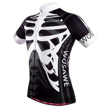 Fashionable Skeleton Pattern Full Zipper Short Sleeve Summer Cycling Jersey For Men - XL XL