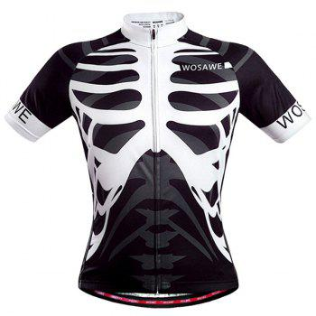 Fashionable Skeleton Pattern Full Zipper Short Sleeve Summer Cycling Jersey For Men - WHITE AND BLACK XL