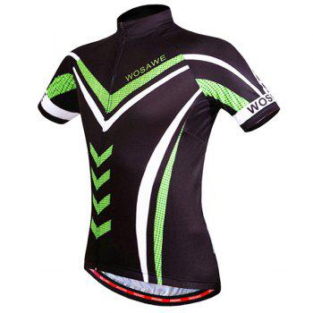Stylish Geometric Pattern Full Zipper Short Sleeve Summer Cycling Jersey For Men - L L