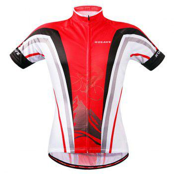 Stylish Bicycle Design Full Zipper Short Sleeve Summer Cycling Jersey For Men - RED RED