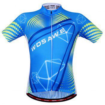 Fashionable 3D Geometry Pattern Short Sleeve Summer Cycling Jersey For Men - BLUE 2XL