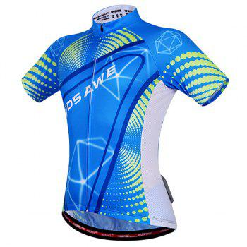 Fashionable 3D Geometry Pattern Short Sleeve Summer Cycling Jersey For Men - BLUE BLUE