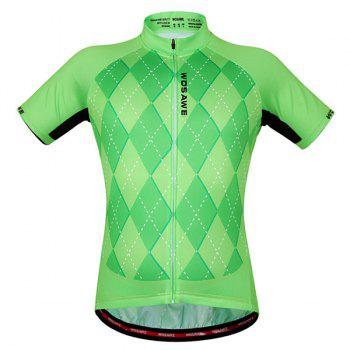 High Quality 3D Square Pattern Short Sleeve Summer Cycling Jersey For Men - GREEN GREEN