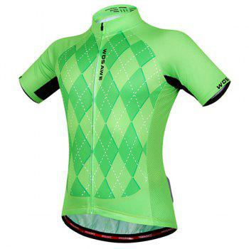 High Quality 3D Square Pattern Short Sleeve Summer Cycling Jersey For Men - GREEN XL