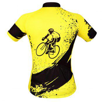 Fashionable Biker Pattern Short Sleeve Summer Cycling Jersey For Men - YELLOW/BLACK YELLOW/BLACK