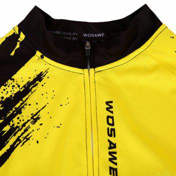 Fashionable Biker Pattern Short Sleeve Summer Cycling Jersey For Men - YELLOW/BLACK S