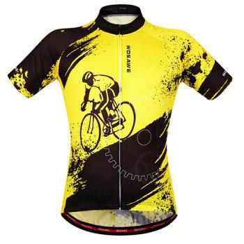 Fashionable Biker Pattern Short Sleeve Summer Cycling Jersey For Men - YELLOW AND BLACK S