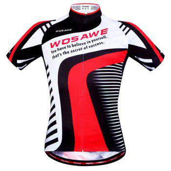 Stylish Inspirational Words Pattern Short Sleeve Summer Cycling Jersey For Men