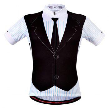 Fashionable False Waistcoat Design Men's Short Sleeve Summer Cycling Jersey - COLORMIX 2XL