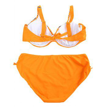 Plus Size Print V-Neck Bikini Set For Women - SWEET ORANGE XL