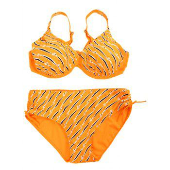 Plus Size Print V-Neck Bikini Set For Women - XL XL