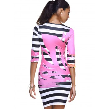 Round Collar Print Striped Chic Women's Bodycon Dress - WATER RED L