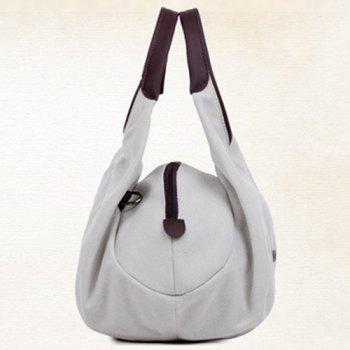 Concise Canvas and Zip Design Women's Tote Bag - OFF WHITE