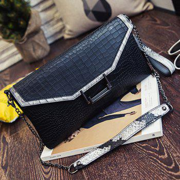 Trendy Stone Pattern and PU Leather Design Women's Clutch Bag - BLACK