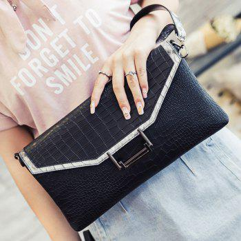 Trendy Stone Pattern and PU Leather Design Women's Clutch Bag - BLACK BLACK