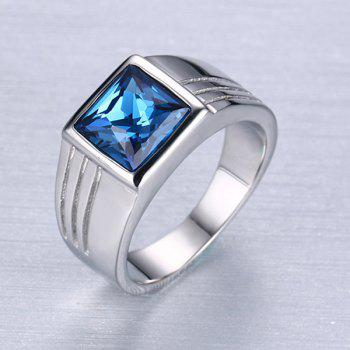 Square Shape Rhinestone Ring - SILVER