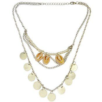 Retro Faux Pearl Coins Shell Necklace Jewelry