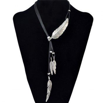 Delicate Faux Leather Rhinestone Leaf Sweater Chain Jewelry For Women - SILVER SILVER