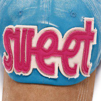 Fashion Letter Shape Applique Casual Style Do Old Suede Baseball Cap - LIGHT BLUE