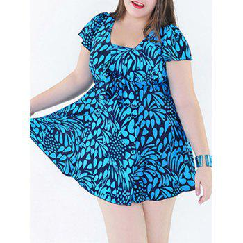 Stylish Women's Plus Size Print Two-Piece Swimsuit