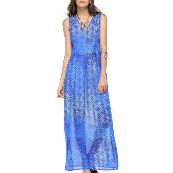 Fashionable Women's V-neck Sleeveless Print Maxi Dress