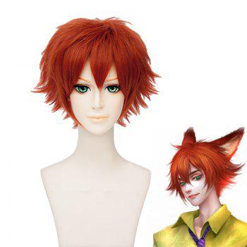 Men's Fluffy Orange Short Cosplay Wig