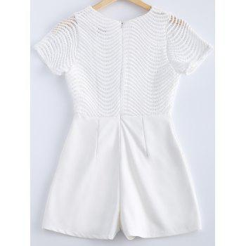Stylish Lace Scoop Neck Openwork Short Sleeves Romper For Women - WHITE M