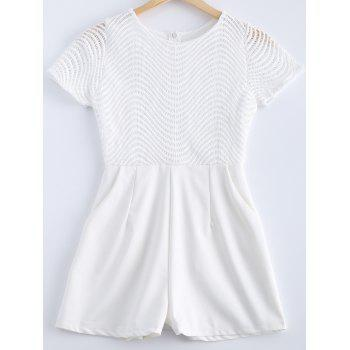 Stylish Lace Scoop Neck Openwork Short Sleeves Romper For Women