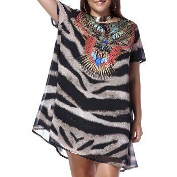 Chic Plus Size Jewel and Leopard Print Women's Chiffon Dress