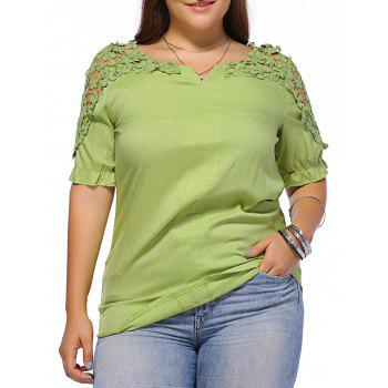 Sweet Plus Size Hollow Out Flower Pattern Women's Blouse - GREEN 2XL