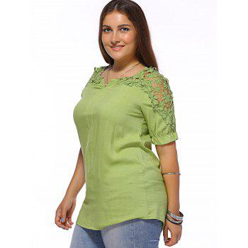 Sweet Plus Size Hollow Out Flower Pattern Women's Blouse - 2XL 2XL