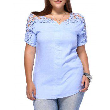 Sweet Plus Size Hollow Out Flower Pattern Women's Blouse - LIGHT BLUE L