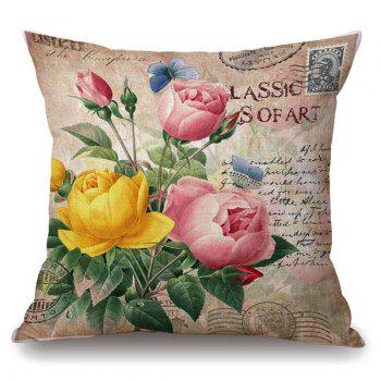 Hot Sale Peony  Stamp Letter Pattern Square Shape Pillowcase