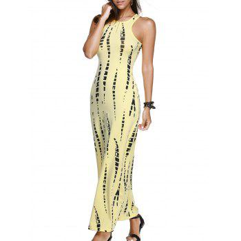 Illusion Sleeveless Cutout Maxi Dress