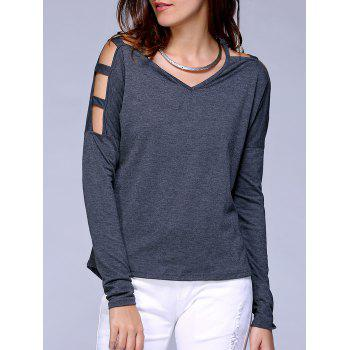 Cut Off Shoulder V Neck Pure Color Tee