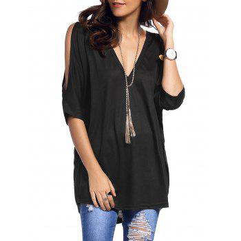 Plunging Neck Cold Shoulder Asymmetrical T-Shirt - BLACK XL